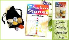 ~CHAKRA HEALING GEMSTONE PACK SET~7 Crystals~Stones~Pouch~Instructions~Reiki~