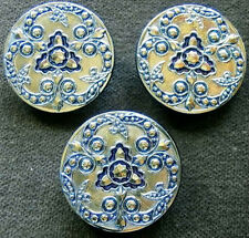 3 Czech Glass IRIDESCENT LACY Buttons #A737 - RARE ANTIQUE RELIEF!!! - LARGE