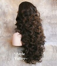 Medium  Brown MIX 3/4 Fall Half Wig Hairpiece EXTRA Long Curly Hair Piece