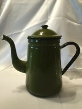 Vintage Avocado Green Black Enamelware Coffee Pot With Stylish Curves