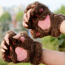 Women Winter Soft Warm Brown Plush Paw Gloves Fluffy Bear Paw Fingerless Gloves