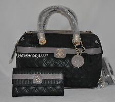 GUESS Merci Quilted Large Satchel Bag Purse Handbag Sac Wallet Set 4G Charm New