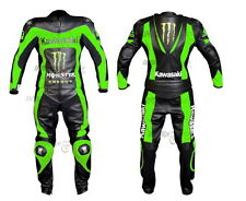 MEN Black GREEN Kawasaki Motorcycle RACING Leather Suit Jacket Leather Pants