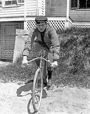 Early1900s Walter F. Marble glass negative. The Bicycle Racer -front view.