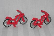 2 NEW RED LEGO BICYCLES,BICYCLE,BIKE, FOR MINIFIGURES, FRIENDS, TOWN, CITY