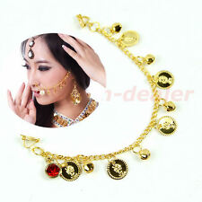 Indian Belly Dance Fashion Jewelry Bridal Wedding Clip On Nose Ring Chain Golden
