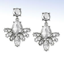 "STEVE MADDEN Silver-Tone ""Glitz Glam"" Geometric CRYSTAL Cluster Drop EARRINGS"