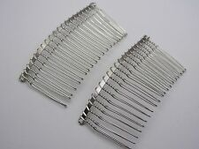 10 Silver Tone Metal Hair Side Combs Clips 76X37mm for DIY Craft