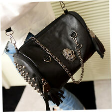 All Matched Women Skull Rivet Tassels Shoulder Bag Handbag Crossbody Black BY