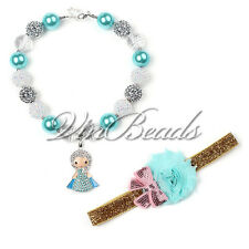 New Frozen Elsa Pendant Necklace Bubblegum Gumball With Bow Jewelry For Kids