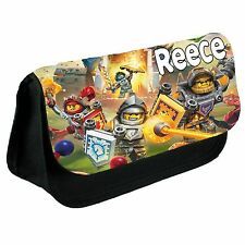 Personalised Lego Nexo Knights Kids School Black Pencil Case/Make Up Bag