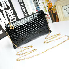 Women Leather Messenger Crossbody Clutch Shoulder Handbag Bag Black