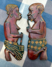 Vintage Hand Carved African Tribal Wall Decorations Man & Woman
