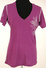 AFFLICTION sz L Vingence Winged Cross Print Top Sitching Purple V Neck