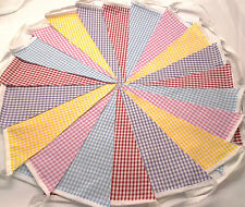 5m Gingham Bunting Matrimoni Vintage Shabby Chic Fatto A Mano 5m Ging.