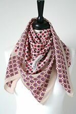 YSL vintage silk scarf- Geometric print on buff  - Large