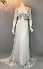 Beautiful White Mermaid Beaded, V-neck Lace Wedding Dress Gown Custom Size S