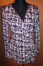 Anne Klein Purple Gray Surplice Faux Wrap Metal Lion Logo Buckle Top Size M