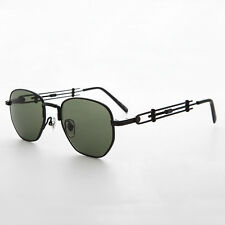 Square Steampunk Vintage Sunglass with JPG inspired temples NOS Black -Jagger