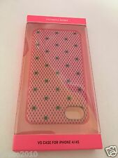NIB 1 VICTORIA'S SECRET PINK BLACK LACE HARD CASE iPHONE 4/4 S COVER POLKA DOT