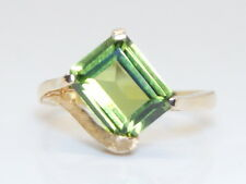 NOS C. 1950's 10K Yellow Gold GOTHIC 4 Ct Emerald Cut Tourmaline Ring Size  6.5