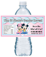 20 DISNEY BABY GENDER REVEAL PARTY FAVORS WATER BOTTLE LABELS - GLOSSY