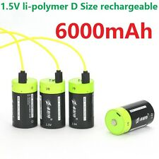 4pcs ZNTER 1.5V 6000mAh D Size Rechargeable Lithium Battery + USB Charging cable