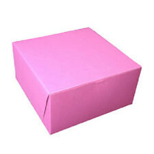 "PINK CAKE BOX, PASTRY BAKERY 8"" X 8"" X 5"" 1-PIECE TUCK TOP, HINGED (10 BOXES/PK)"