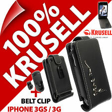 New Krusell Orbit Flex PU LEATHER Flip Case + Belt Clip for Apple iPhone 3GS 3G