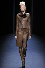 HAIDER ACKERMANN RUNWAY COLLECTION FA 2010 LEATHER WOOL JACKET BROWN SZ 36 US4