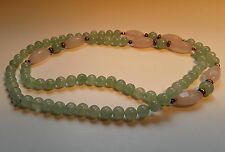 "Vintage 30"" Pink Rose Quartz & Jade Beaded Necklace"