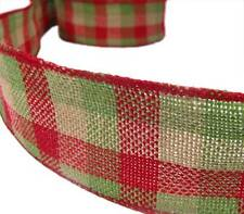 Christmas Red Green Tea Plaid Country Rustic Primitive Burlap Wired Ribbon 2 1/2