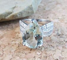 New 4.52 ctw Natural Genuine Green Amethyst Ring Sterling Silver Size 7
