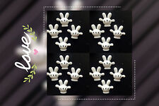 5 pieces of white hand embellishment black Little flat back gift scrapbook
