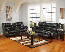 DOVER - Modern Black Bonded Leather Recliner Sofa Couch Loveseat Set Living Room