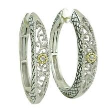 Andrea Candela 18k Sterling Diamond Vintage Cable Hoop Hinged Earrings ACE115/01