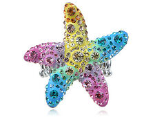 Lady Neon Bright and Colorful Dancing Starfish Rhinestone Stretch Ring