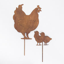 Metal Hen and Chicks French Style Garden Stake Silhouette