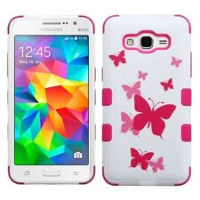 For Samsung Galaxy Grand Prime Pink Butterfly Dancing Hard Hybrid Case Cover