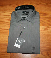 NWT Mens CALVIN KLEIN Gray Slim Fit L/S Dress Shirt XL 17-17 1/2 34/35