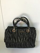 =CUTENESS= MIU MIU Black Nappa Matelasse Buckle Chain Leather Mini Handle Bag
