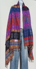 "Yak Wool Shawl/Throw-Handloomed in Nepal-Reversible-Multicolor L - 79"" x W - 36"""