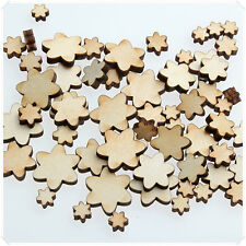 50pcs WOODEN MINI MIXED WOOD FLOWERS V3 CHRISTMAS CRAFT CARD MAKING SCRAPBOOKING