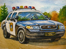 Original Painting AMERICAN POLICE CAR FORD CROWN VICTORIA FLASH LIGHTS ACEO Art.