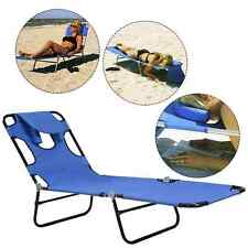 Outdoor Reclining Camping Chaise Lounge Chair Lounge Cot Bed Portable Patio Sun