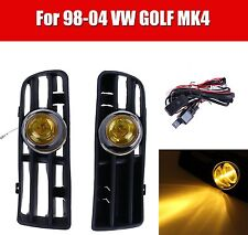 2x Yellow Len Front Bumper Fog Light Lamp Grill f/ 98-04 VW Golf GTI/TDI MK4
