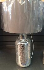 BNWT Modern Luxury Grey Drum Silver Crackle Glass Bottle Base Table Lamp NEW
