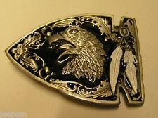 Native American Indian Arrowhead Arrow Head Eagle White Feathers Belt Buckle