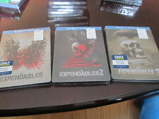 THE EXPENDABLES 1,2 & 3 BLU-RAY + DIGITAL HD STEELBOOK EDITION LOT OF 3 MOVIES