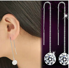 SILVER CZ CRYSTAL THREADER PULL THROUGH CHAIN EARRINGS